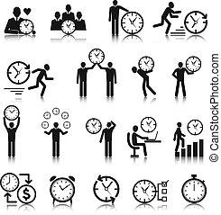 gestion, ensemble, chronométrez icônes