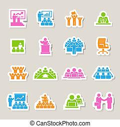gestion, ensemble, icones affaires