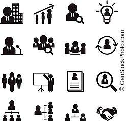gestion, ensemble, ressource, humain, icône