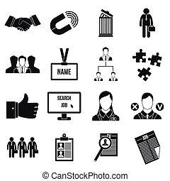 gestion, ensemble, ressource, humain, icônes