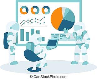 gestion, espace bureau, situations, flot travail, business, gabarit, infographics