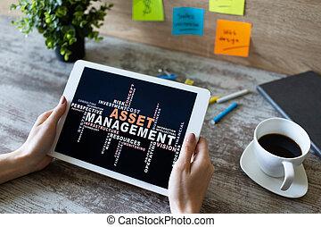 gestion, financier, business, concept., screen., bien, mots, nuage