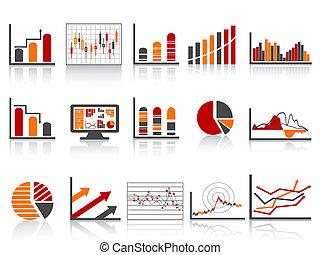 gestion, financier, simple, rapports, couleur, icône