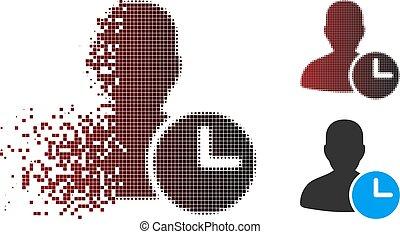 gestion, horloge, halftone, temps, dissipated, pixel, icône