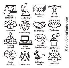 gestion, icones affaires, 11., ligne, style., meute
