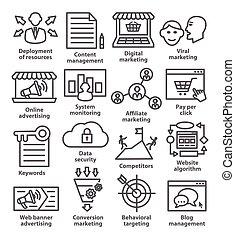 gestion, icones affaires, 24., ligne, style., meute
