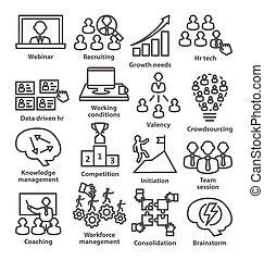 gestion, icones affaires, 30., ligne, style., meute