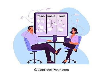 gestion, idée, temps, kanban, planche