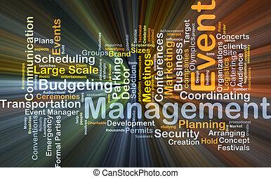 gestion, incandescent, concept, événement, fond
