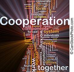 gestion, incandescent, concept, coopération, fond