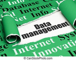 gestion information, texte, papier déchiré, noir, sous, morceau, données, concept: