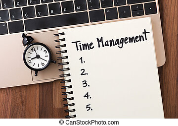 gestion, liste, cahier, temps