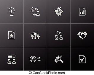 gestion, -, métallique, icônes
