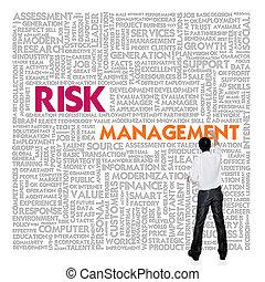 gestion, mot, finance, concept affaires, nuage, risque