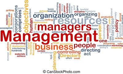 gestion, mot, nuage