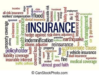 gestion, mot, risque, apparenté, étiquette, mots, assurance, nuage