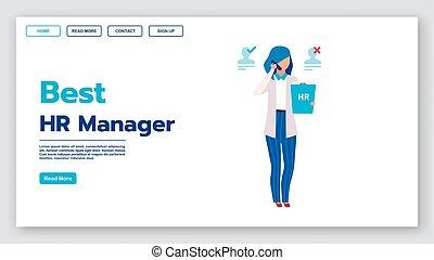 gestion, page accueil, directeur, hr, recrutement, page, illustrations., vecteur, humain, bannière, interface, emploi, ressources, idée, concept, mieux, service, site web, plat, toile, template., layout., agence, atterrissage