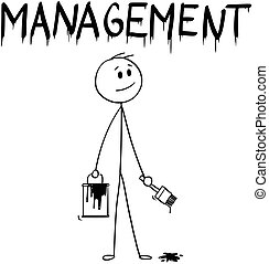 gestion, peinture mot, brosse, homme affaires, peinture, dessin animé, boîte