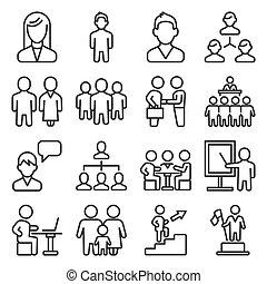 gestion, personnes, business, style, vecteur, ligne, icônes, set.