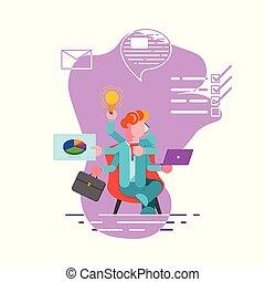 gestion, productivité, illustration., employé bureau, concept., moderne, -, actions, temps, time., vecteur, même, mains, beaucoup, plusieurs, multitâche