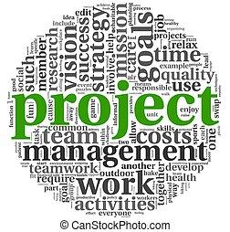 gestion projet, étiquette, nuage