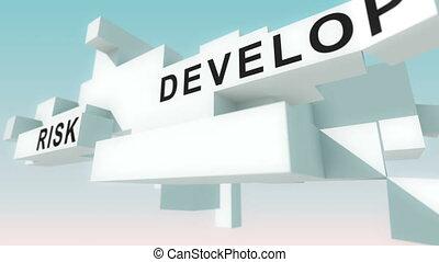 gestion projet, animé, mots, cubes