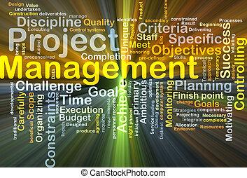 gestion projet, incandescent, concept, fond