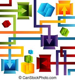gestion, récipient, diagramme, 3d