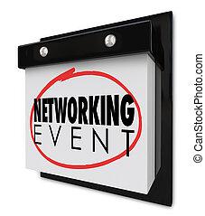 gestion réseau, business, mur, mots, calendrier, réunion, événement, rappel