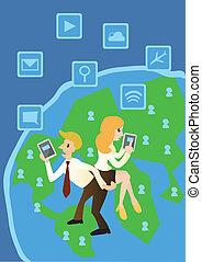 gestion réseau, business, vecteur, informatique, dessin animé, mondiale