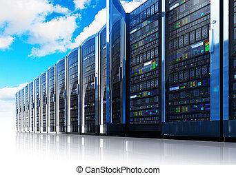 gestion réseau, calculer, informatique, nuage, concept