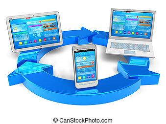 gestion réseau, calculer, nuage, sans fil, concept
