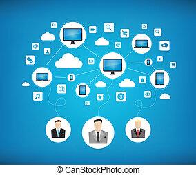 gestion réseau, concept, affaires modernes