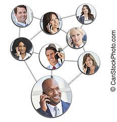 gestion réseau, hommes affaires, téléphone portable, femmes
