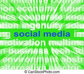 gestion réseau, média, social, comments, mots, ligne, blogging, moyenne