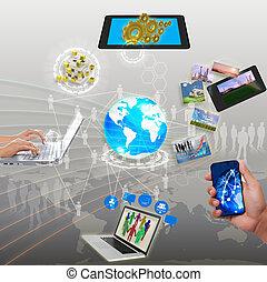 gestion réseau, synchronisation, part, ruisseler, information, nuage