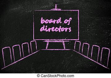 gestion, réunion conseil, salle, à, whiteboard