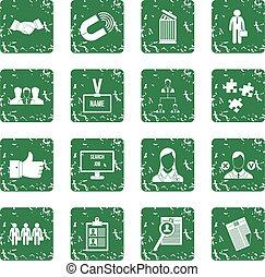 gestion, ressource, icônes, ensemble, humain, grunge