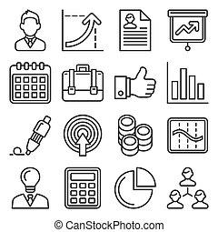 gestion, ressources humaines, style, vecteur, ligne, business, icônes, set.