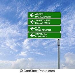 gestion, richesse, panneaux signalisations