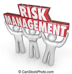 gestion, risque, gens, responsabilité, ascenseur, limite, mots, équipe