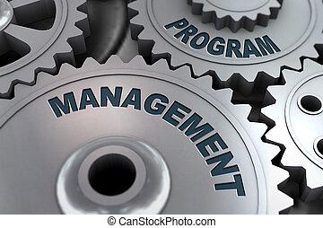 gestion, roue dentée, programme, render, engrenage, 3d