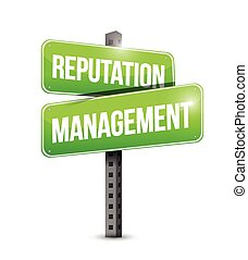 gestion, signe, illustration, réputation