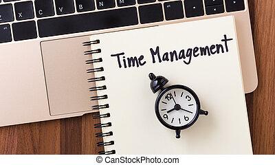 gestion, temps, cahier, horloge