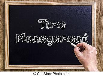 gestion, texte, esquissé, -, tableau, temps, nouveau, 3d