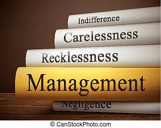 gestion, titre, bois, isolé, livre, table