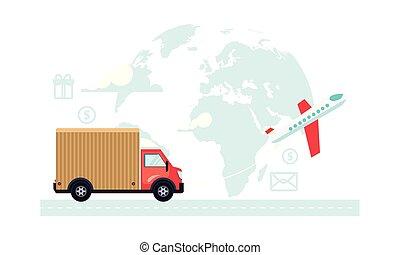 gestion, transport, fret, livraison, illustration, vecteur, logistique