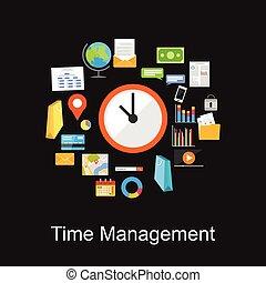gestione del proprio tempo, concetto, illustration.