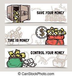 gestione del proprio tempo, finanziario, bandiere, set, scarabocchiare