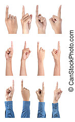gesto, apontar, cobrança, mão